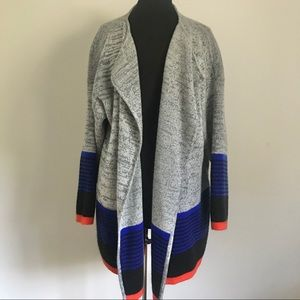 Shein Colorblock Open Front Cardigan Sweater